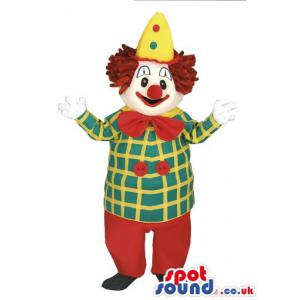 Clown mascot with his fancy clothes with his fancy cap - Custom