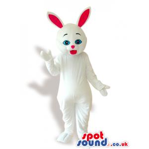 All White Rabbit Animal Plush Mascot With Pink Ears - Custom