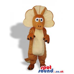 Brown And Beige Triceratops Dinosaur Plush Mascot - Custom