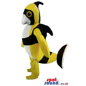 Fish mascot in black and yellow colour giving a upright pose -