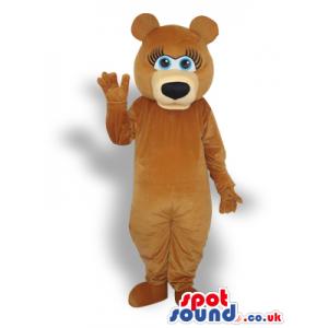 Brown Girl Bear Animal Plush Mascot With Blue Eyes - Custom