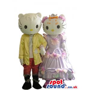 Kitty Couple Plush Mascot Wearing Boy And Girl Garments -