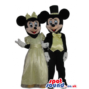 Mickey And Minnie Mouse Mascots With Elegant Yellow Clothes -