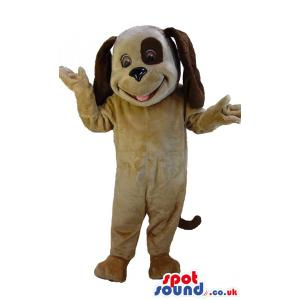 Snoopy dog mascot with hanging ears and open mouth black eyes -
