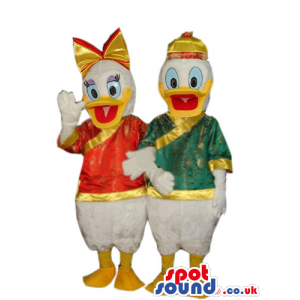 Donald And Daisy Duck Disney Couple Mascots With Exotic Clothes