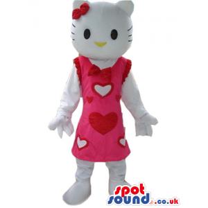 Kitty Cartoon Character Plush Mascot Wearing A Pink Dress -