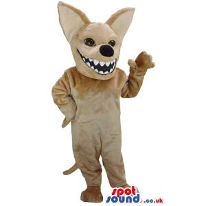 Cunning fox mascot in brown and waving his hand to us - Custom