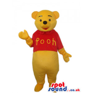 Winnie It Pooh Yellow Bear Mascot Wearing A Red Pooh T-Shirt -