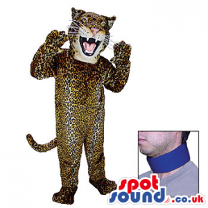 Blue Neck Band For White And Brown Leopard Animal Plush Mascot