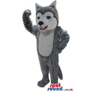 Fox mascot with blue eyes waving his hand and smiling - Custom