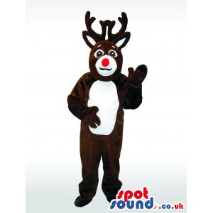 Dark Brown Reindeer Animal Plush Mascot With White Belly -