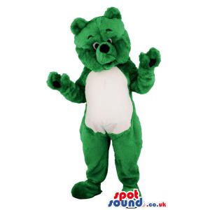 Green bear mascot standing with his hands wide open - Custom