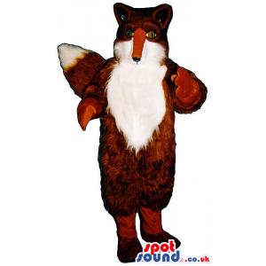 Brown Fox Animal Mascot With Hairy White Front Body - Custom