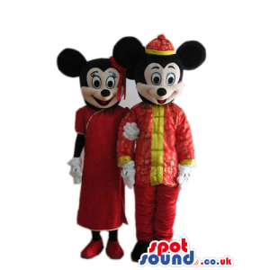 Mickey And Minnie Mouse Disney Characters With Chinese Clothes