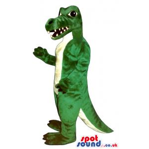 Green And White Angry Dinosaur Animal Mascot With Sharp Teeth -