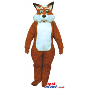 Plush Brown Fox Mascot With Round Eyes And Hairy Face - Custom