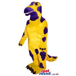 Customizable Dinosaur Mascot In Yellow With Purple Spots -