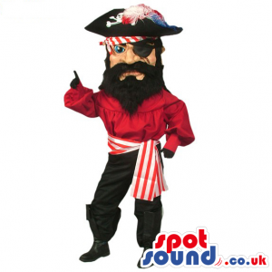Human Pirate Mascot Wearing Red And Black Garments - Custom