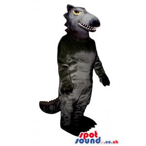 Customizable All Grey Dinosaur Mascot With Yellow Eyes - Custom