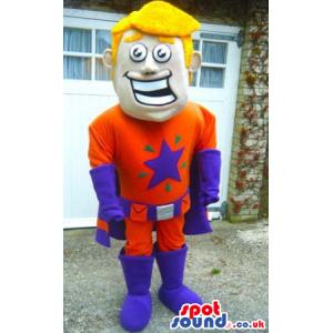 Smiling Blond Boy Wearing Superhero Orange And Purple Garments
