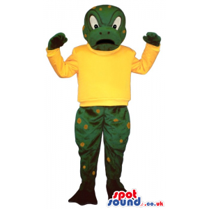 Green Frog Mascot With Yellow Spots Wearing A Yellow T-Shirt -