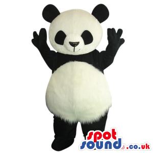 Customizable Cute Panda Bear Plush Mascot With Round Belly -