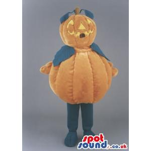 Smiling Halloween pumpkin mascot with standing with his legs -