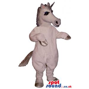 Customizable White Unicorn Mascot With A Silver Horn - Custom