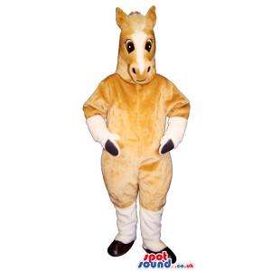 Customizable All Beige And White Horse Plush Mascot - Custom