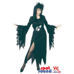 Adult Black Witch Costume Disguise With Black Whig - Custom