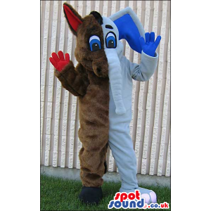 Half Brown Donkey And Half White Elephant Plush Mascot - Custom