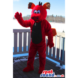 Red Monster Plush Mascot With Wings And A Brown Belly - Custom