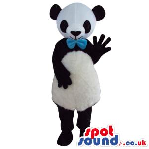 Cute Panda Bear Plush Mascot Wearing A Blue Ribbon - Custom