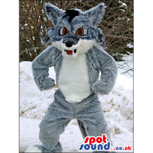Grey Wolf Animal Plush Mascot With A White Belly And Brown Eyes