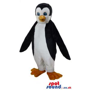 Penguin mascot in black and white with a cute smile - Custom