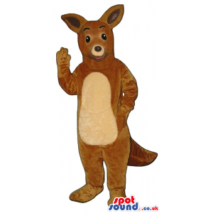 Cute Brown Kangaroo Plush Animal Mascot With A Beige Belly -