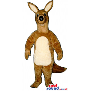 Black-Nosed Brown Kangaroo Plush Mascot With A Beige Belly -