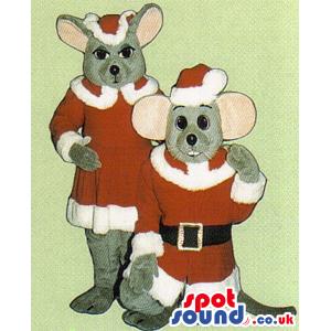 Two Grey Mice Mascots Wearing Santa Claus Garments - Custom