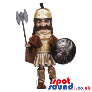 Ancient Roman Character Mascot With An Axe And Shield - Custom