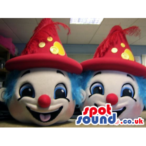 Two Funny And Cute Clown Plush Mascot Heads With Red Hats -