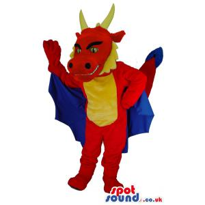 Blue and red friendly dragon mascot with two horns - Custom