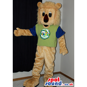 Beige Lion Animal Plush Mascot Wearing A Green And Black