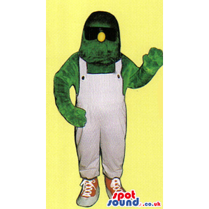 Green Monster Mascot With A Yellow Nose And Overalls - Custom
