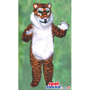 Orange And White Tiger Animal Plush Mascot With A Hairy Belly -