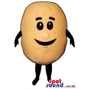 Funny Cute Potato Vegetable Food Mascot With Big Smile - Custom
