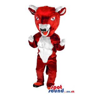 Red and white cow mascot who is giving a dancing pose - Custom