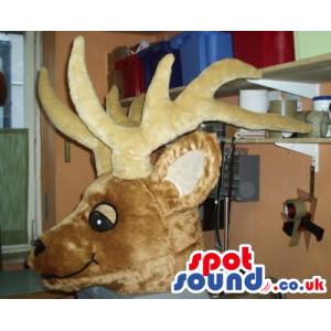 Brown And Beige Reindeer Mascot Plush Head - Custom Mascots