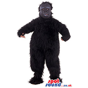 Black Hairy Monster Creature Mascot With Grey Face - Custom