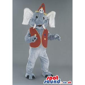 Elephant mascot with a tusk standing with a red jacket - Custom