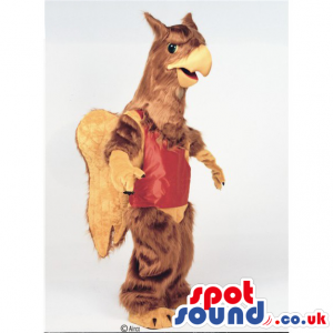 Brown Hairy Eagle Mascot Wearing A Red Sports Vest - Custom